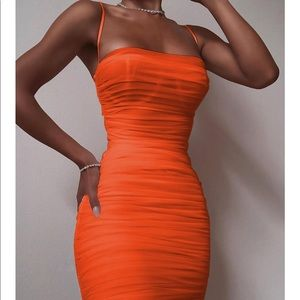 NWOT Orange ruched dress